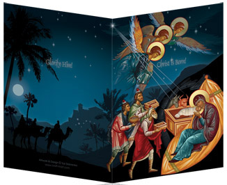 exactly at midnight on christmas - Nativity Christmas Cards