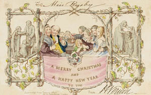 First Christmas card commissioned by Henry Cole and designed by John Callcott Horsley